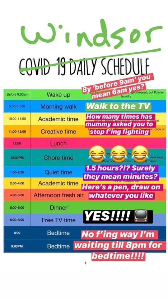 Funny timetable for kids at home because of coronavirus school closures