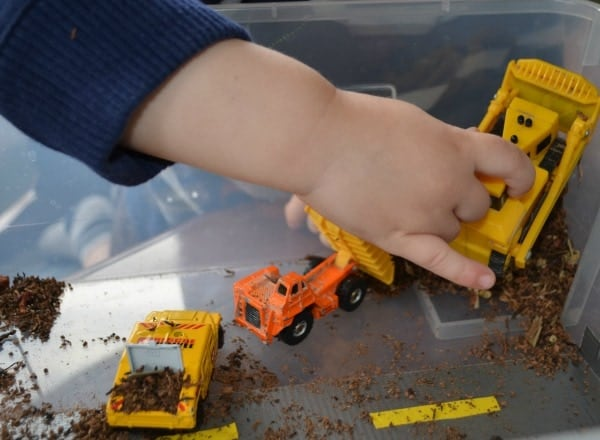 Construction toy sensory play is a great way to keep toddlers entertained at home