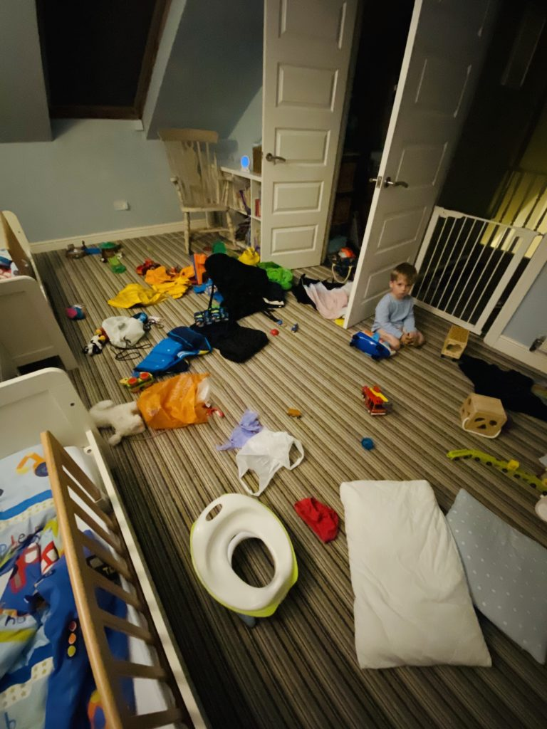 Twin toddlers pull all things out of cupboards onto the bedroom floor late at night when they should be sleeping