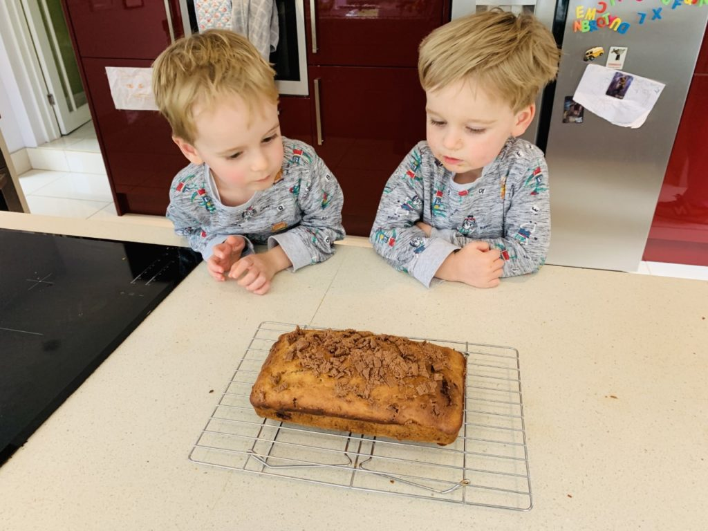 toddlers look at the cake they've just made