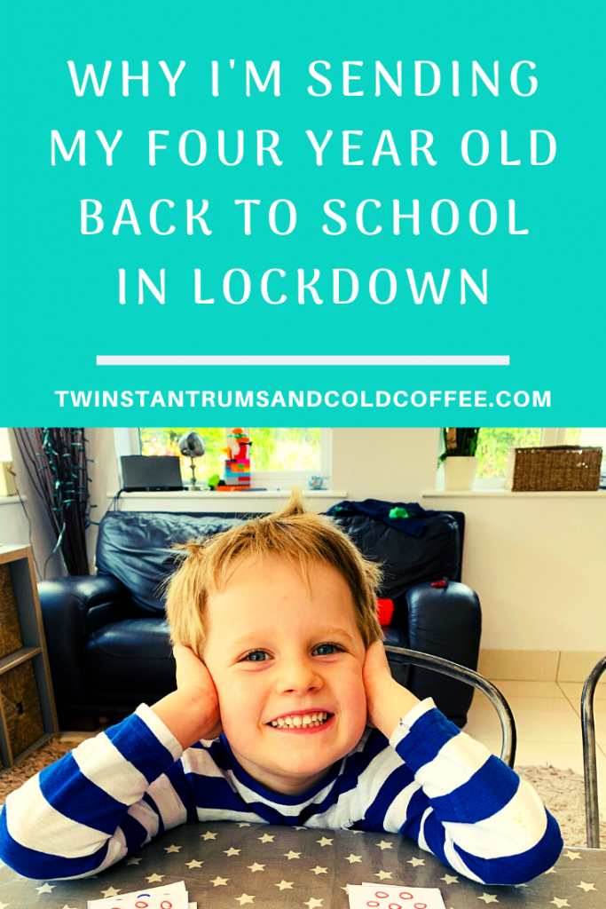 PIN image for why I'm sending my four year old back to school in lockdown