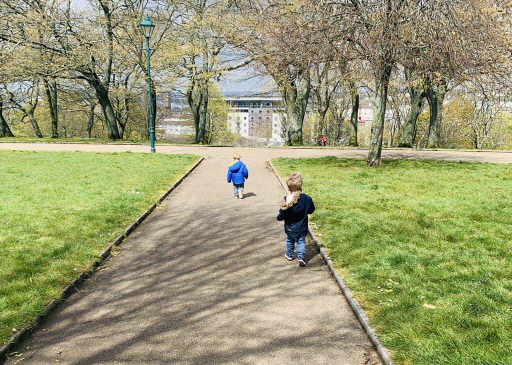 Toddler twin boys at Devonport Park Plymouth