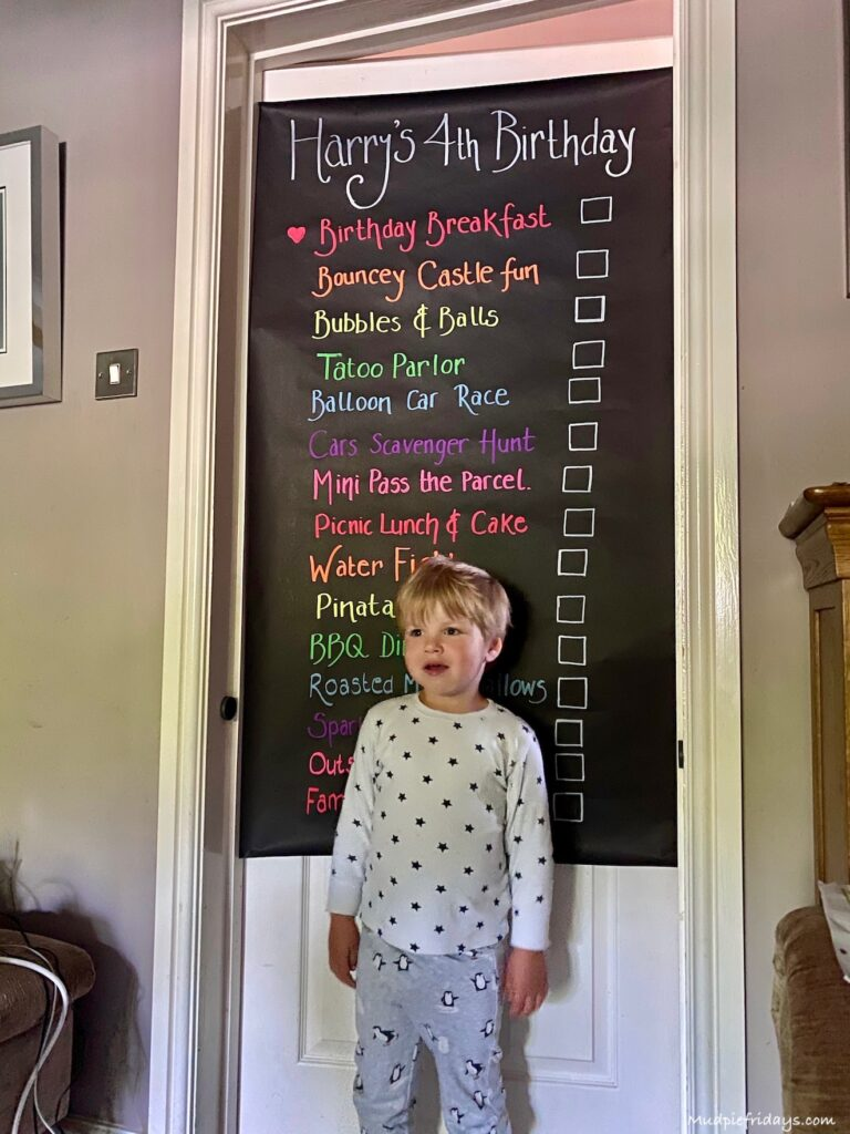 Mudpie Fridays creates a party poster for her son's birthday party at home