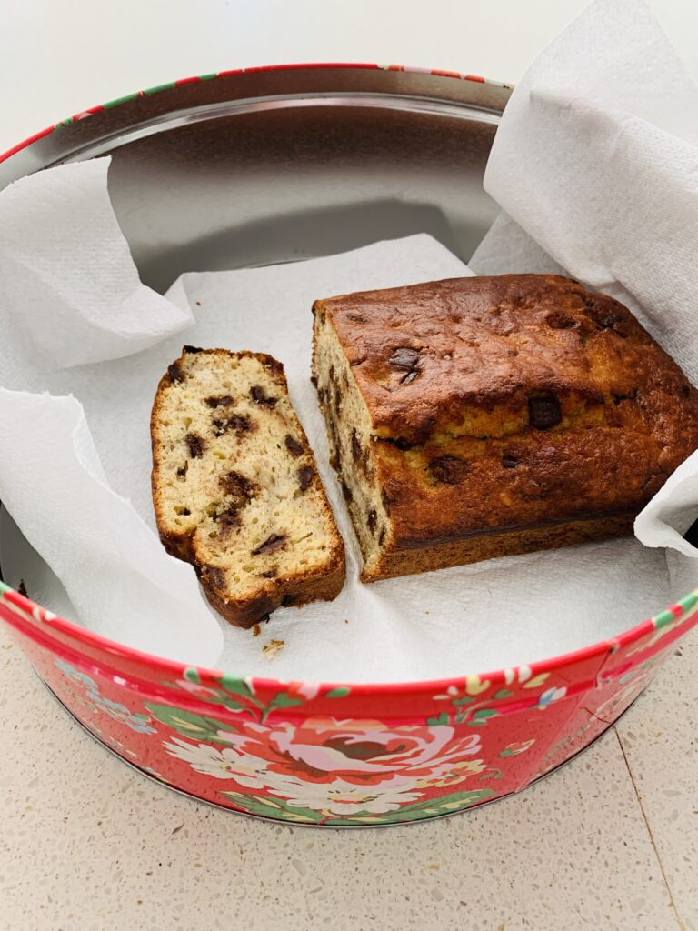 Cake tin containing chocolate and banana bread