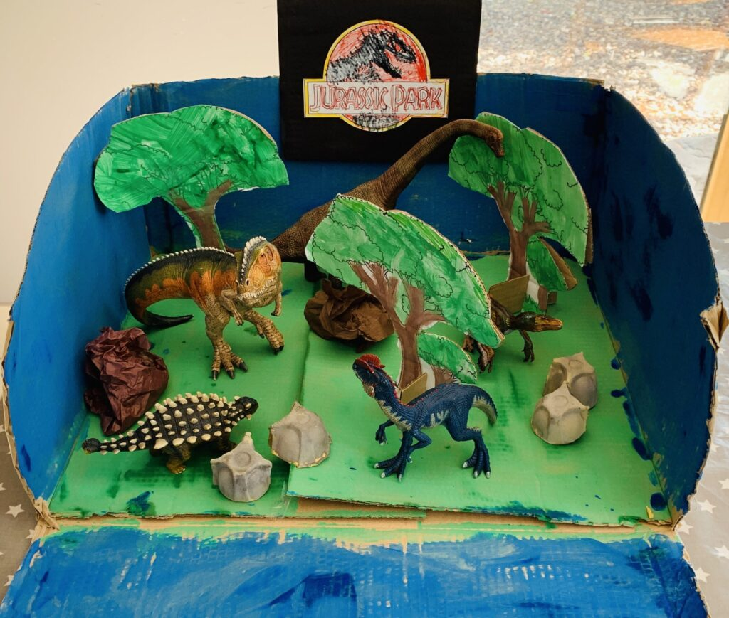 Model of jurassic park made by four year old in lockdown