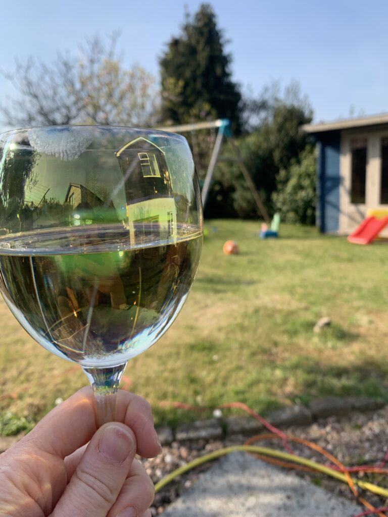 Wine in a garden in lockdown