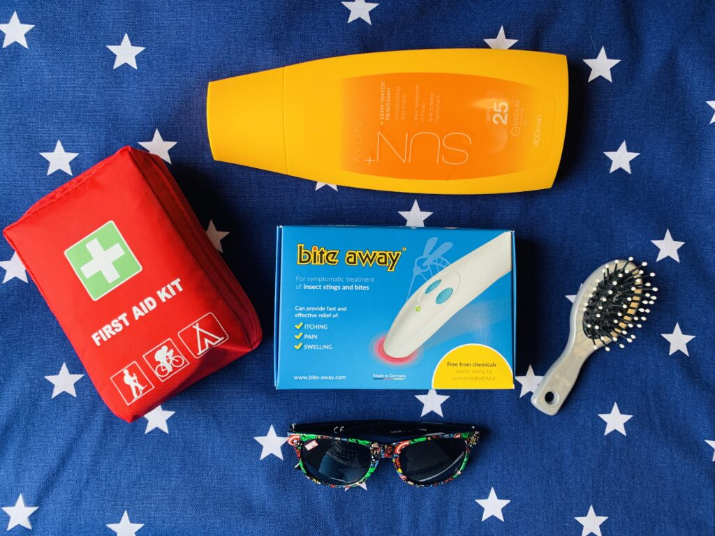 Biteaway medical device for the itching from an insect bite with other holiday packing necessities