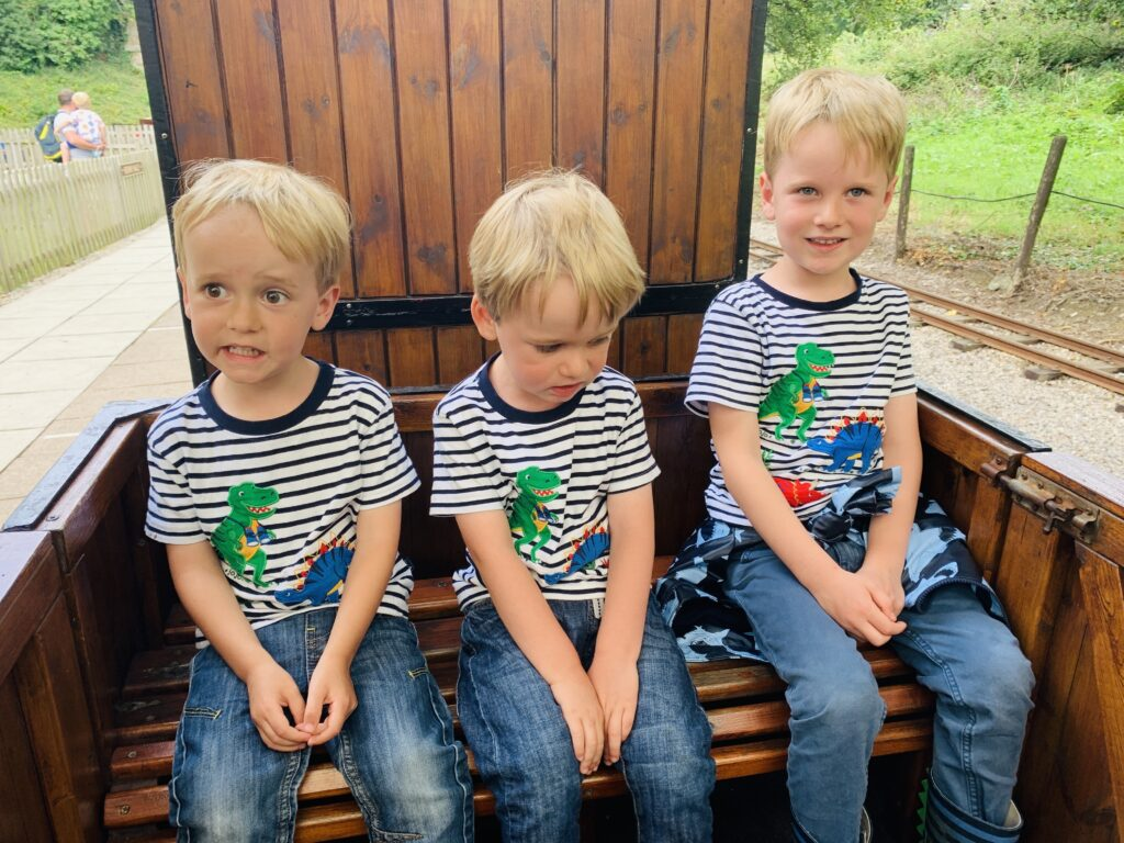Three brothers sitting on a miniature steam train at Lappa Valley