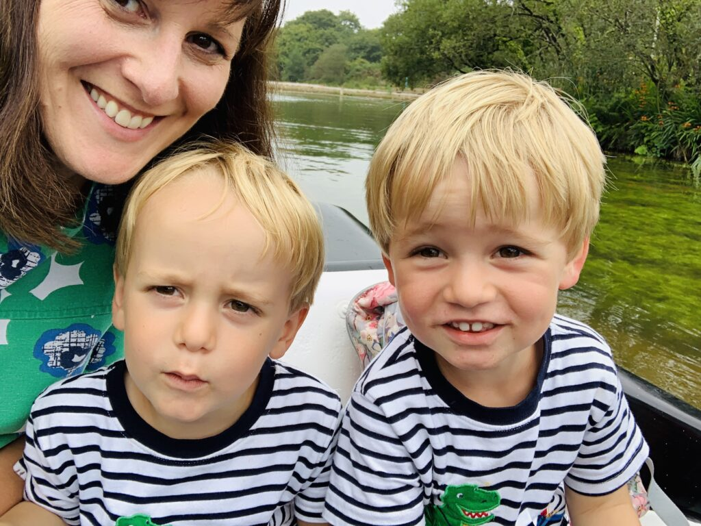 Mum and twin three year old boys on the swan pedalo boats at Lappa Valley