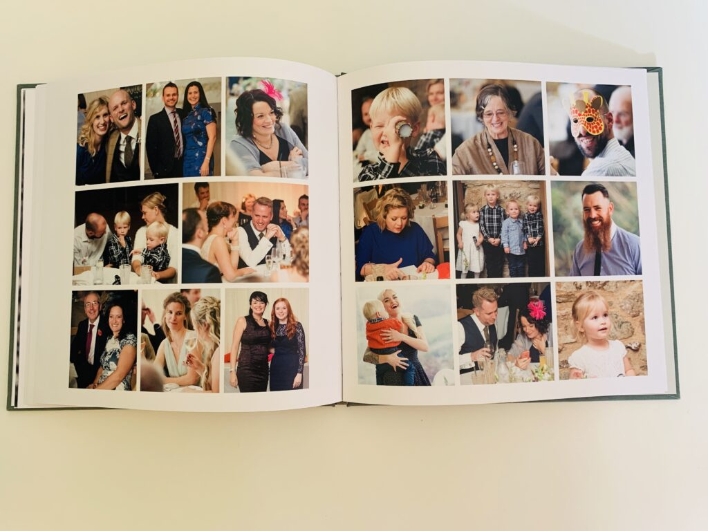 wedding album showing 9 pictures to a page in a photo book