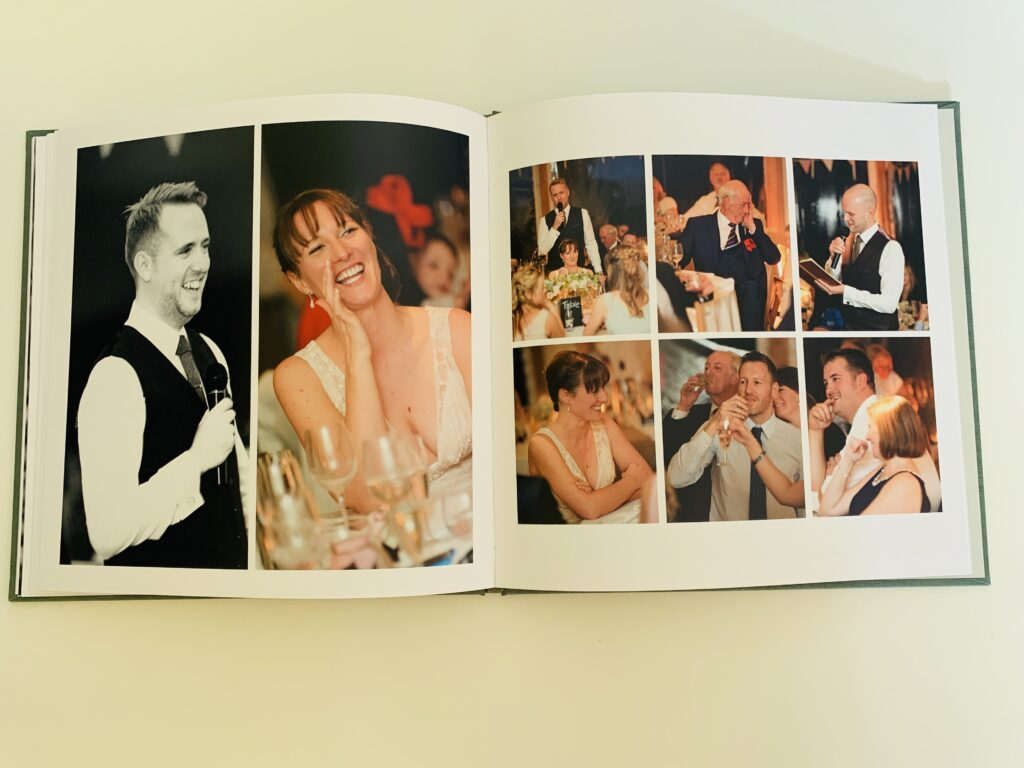 Wedding album showing lots of different pictures in a photo book