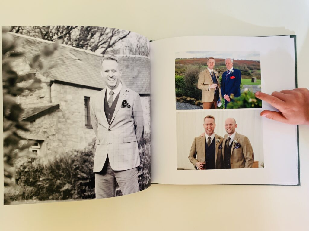 Groom pictures in a Rosemood wedding photo book