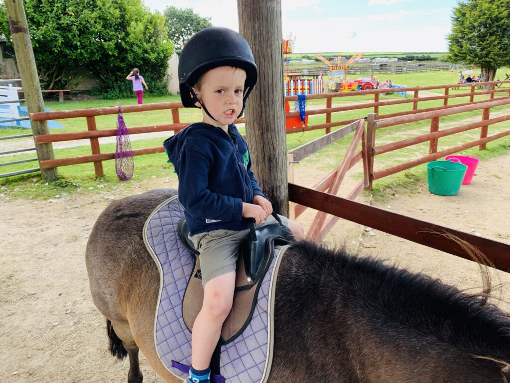 Three year old boy has his first ever pony ride