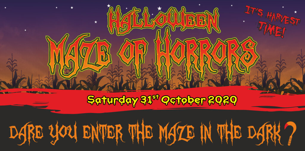 Poster for the Halloween Maze of Horror at the Cornish Maize Maze
