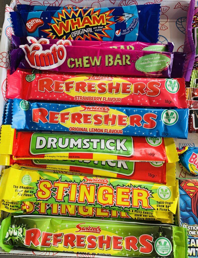 Retro sweet chew bars in a hamper