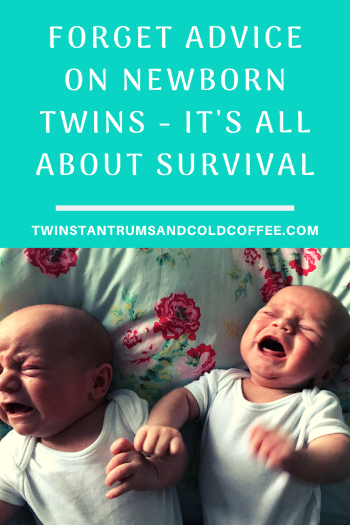PIN image of newborn twins crying on the bed