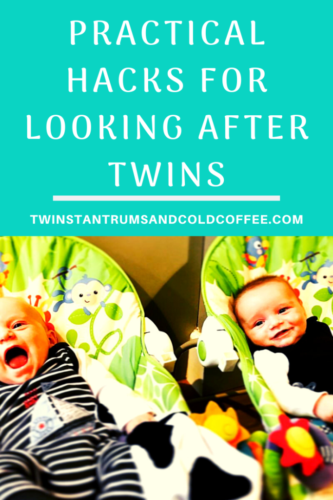 PIN image for practical hacks for looking after twins, with baby twins lying in bouncers