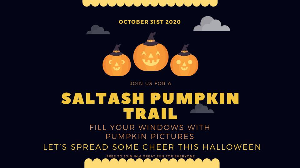 Advert for the Saltash Pumpkin Trail event with yellow writing on a black backgroud and three pumpkins with witches hats on