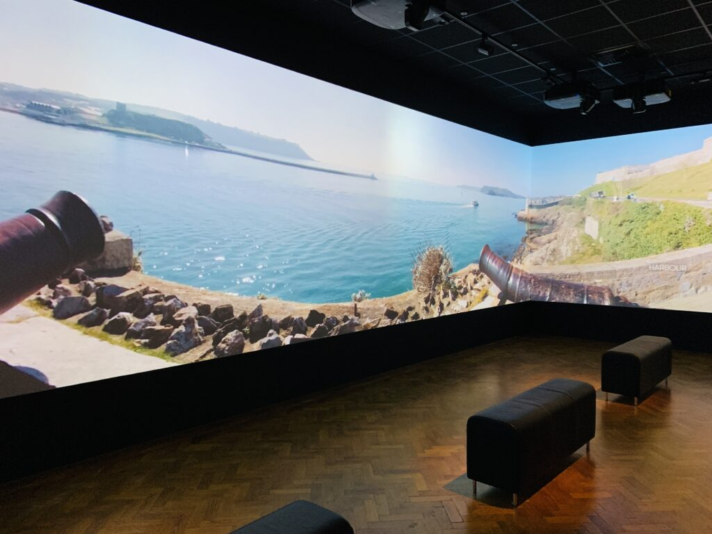 A huge floor to ceiling digital image of Plymouth Sound at The Box museum