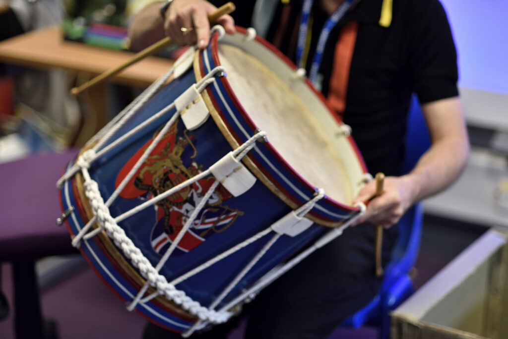 A close up picture of a drum as a part of an educational programme at The Box in Plymouth