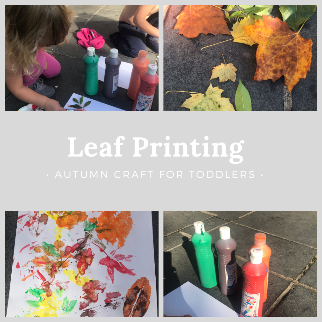 Images on how to do leaf printing as one of many easy craft ideas. One picture shows different autumnal coloured leaves, another image shows two little girls with some paint bottles, one shows the paint bottles and the final picture shows the finished piece of paper with leaf prints