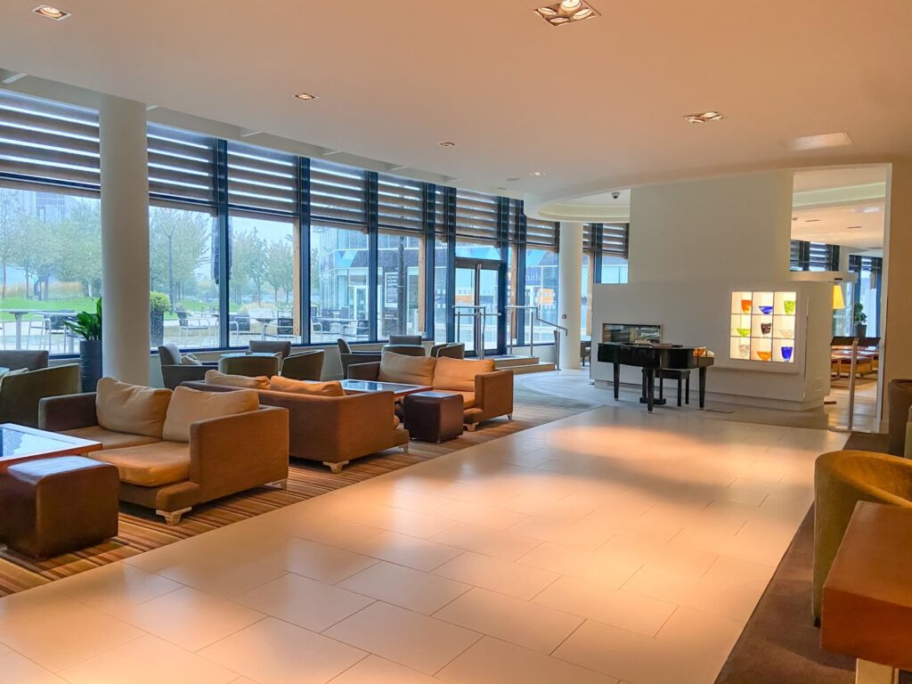 The lounge lobby of the Holiday Inn in Reading