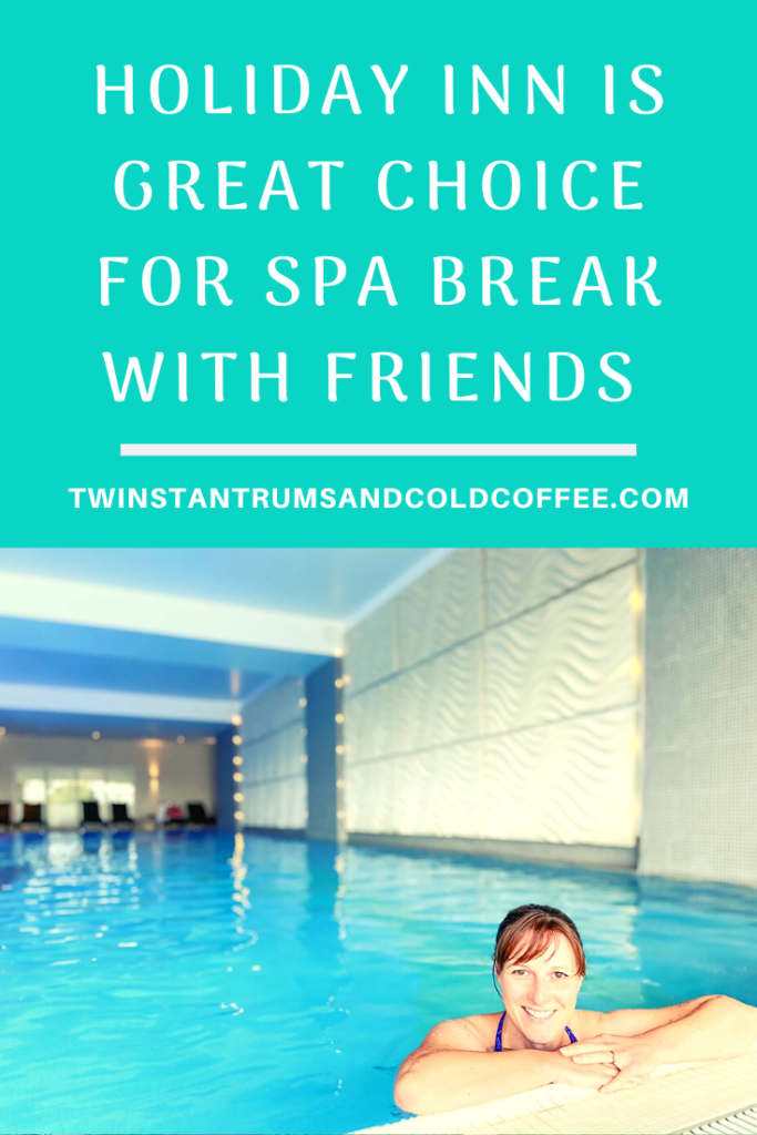 PIN for holiday inn is a great choice for spa break with friends, a dark haired woman leaning on the edge of an empty swimming pool