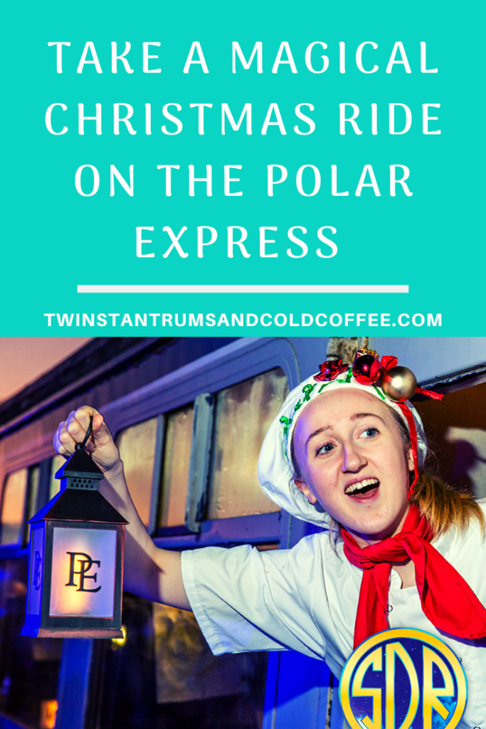 PIN image for taking a magical christmas ride on the Polar Express. A woman chef with festive hat on and red scarf leans out of the window of a steam train holding an old fashioned lantern