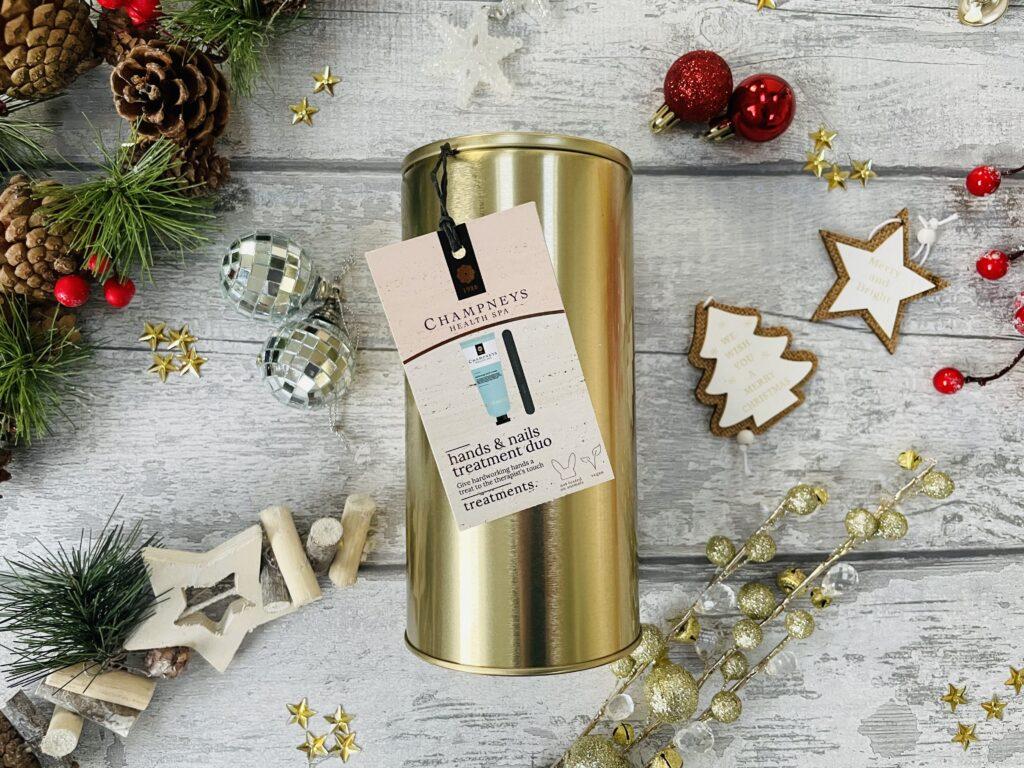 Boots christmas gifts champneys hand and nail set in a gold circular tin