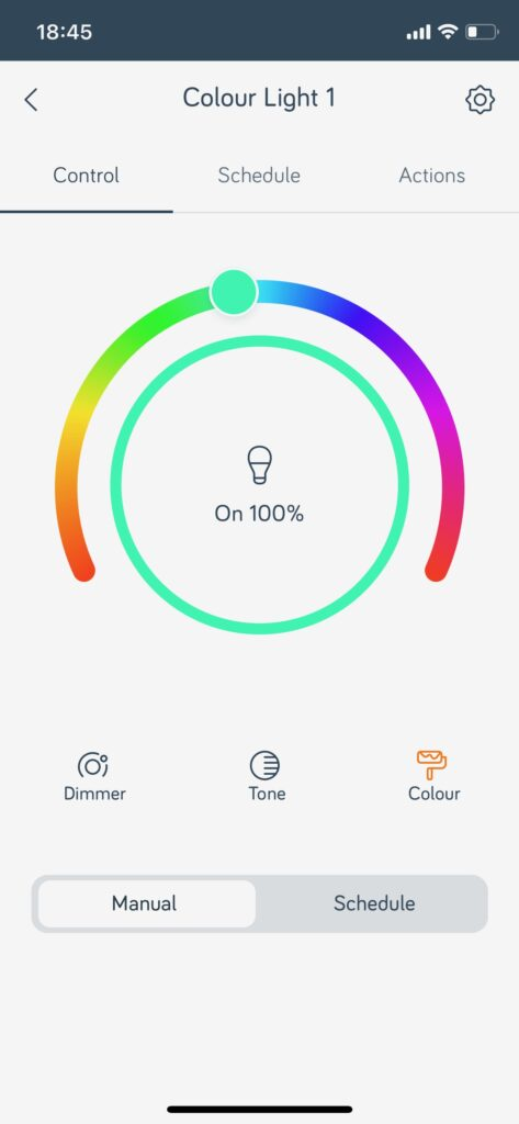 Screenshot of the hive app with a spectrum of colours to change the colour of a lightbulb