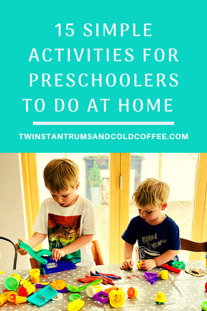 PIN image for 15 simple activities for preschoolers to do at home with two boys at a kitchen table playing with play doh