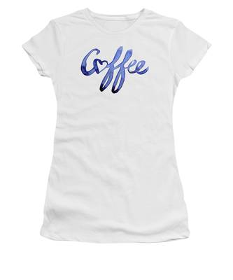 white t-shirt with the slogan 'coffee' on it in purple