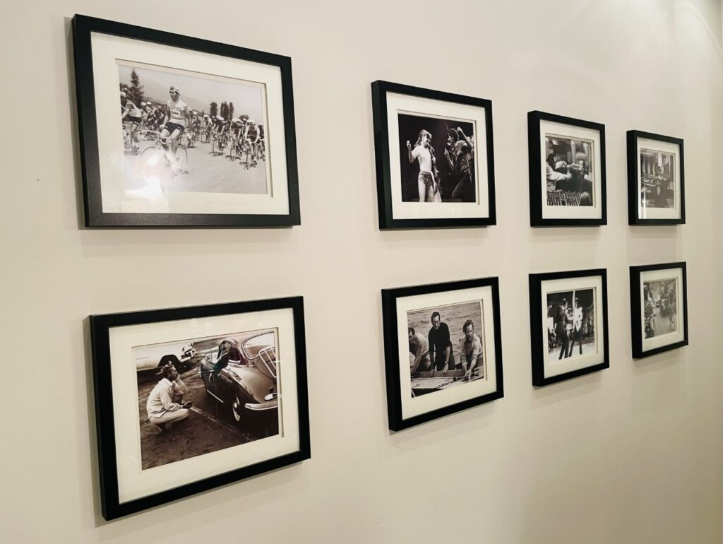 Wall art in the downstairs toilet, a picture gallery of black and white iconic pictures