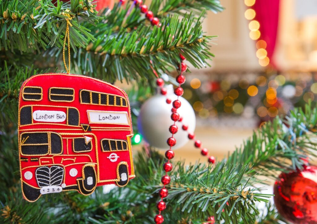 London Bus decoration hanging on a christmas tree. An idea for Christmas Eve Boxes.