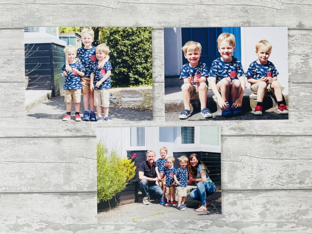 Three photo boards of boys and their parents on a grey background