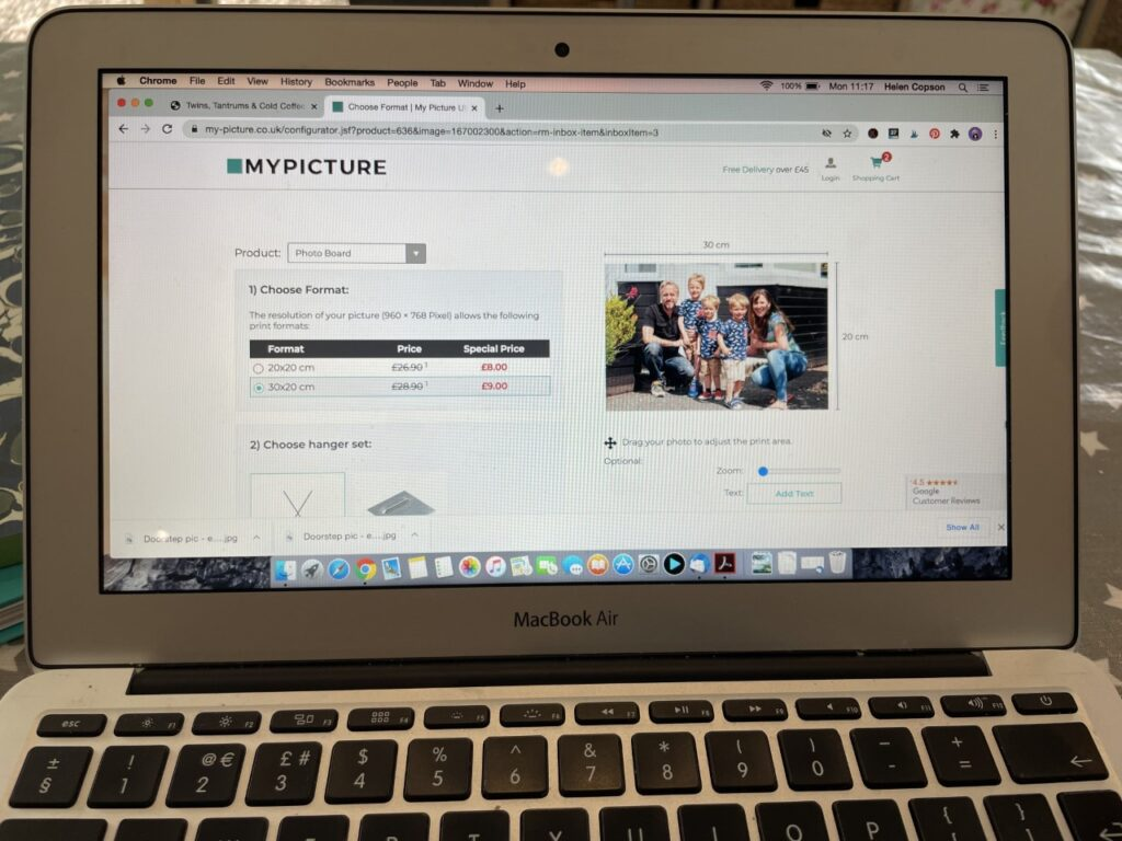 A laptop screen showing My Picture website and the check out basket
