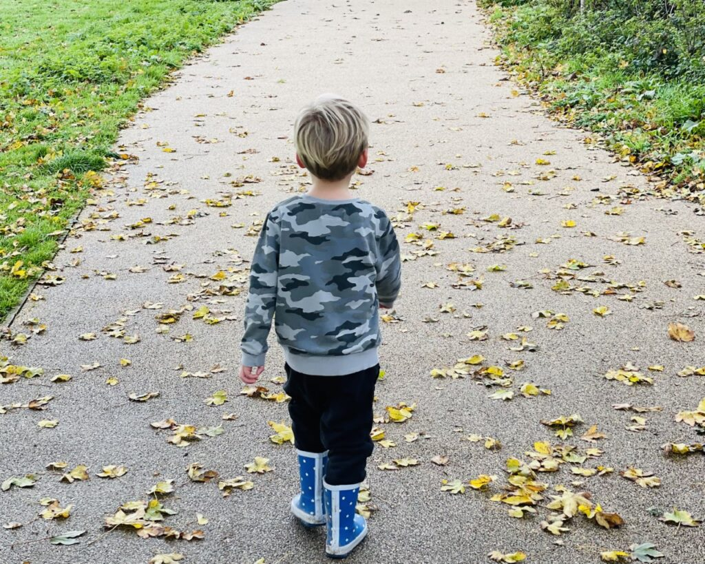Little boy in wellies walking along a leaf-covered path as a Plymouth place to visit in Tier 3