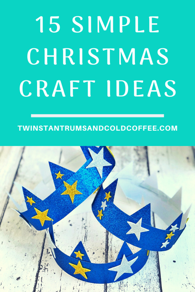 PIN image of blue glittery crowns and a title of 15 christmas craft ideas