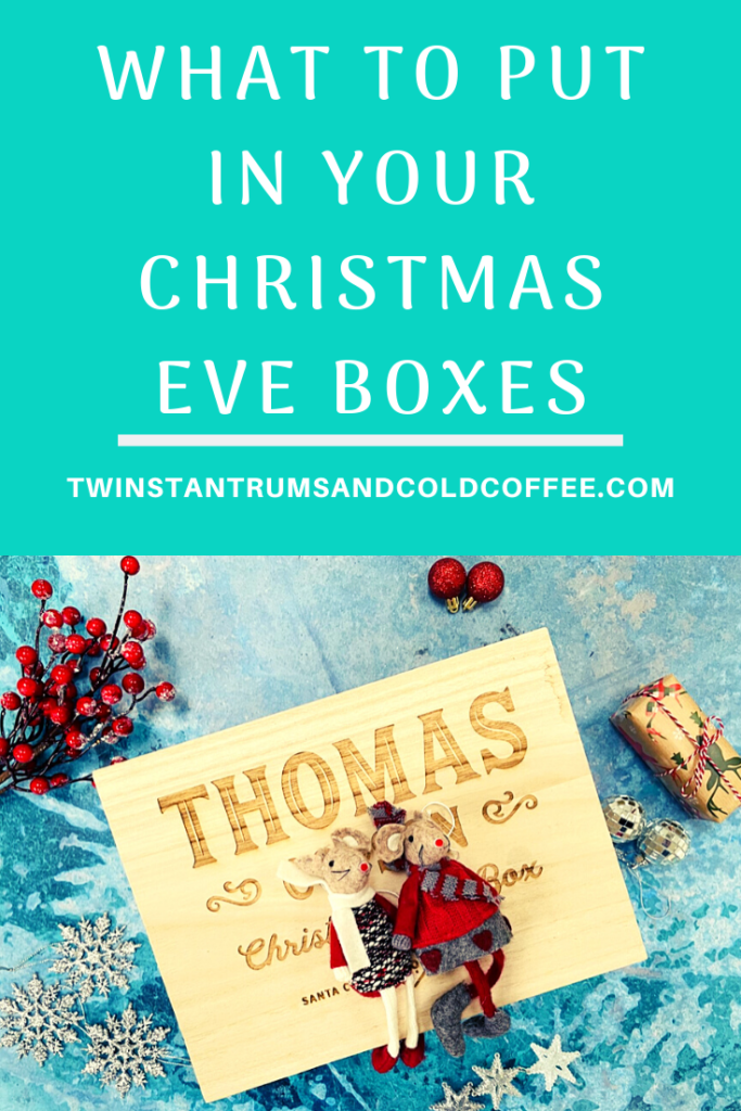 PIN image of a wooden personalised Christmas Eve box