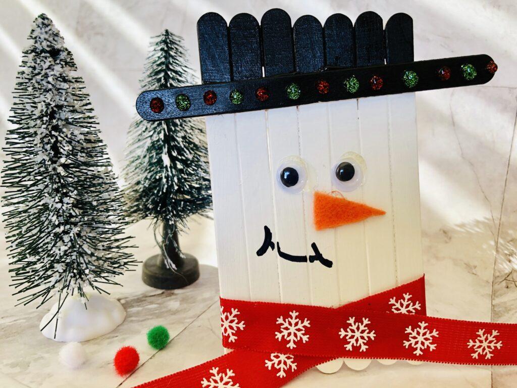 Christmas craft lolly pop sick stick snowman