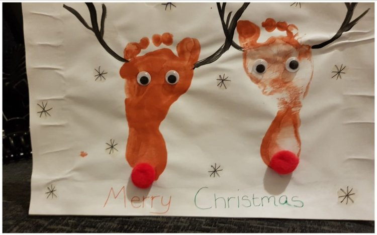 Reindeer heads made out of painted footprints