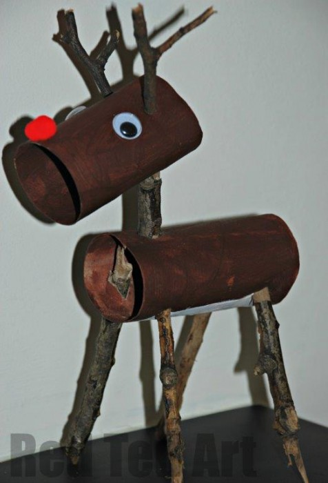 Brown reindeer made out of painted toilet rolls and sticks