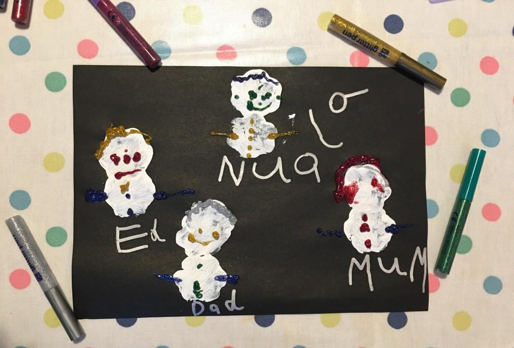 white potato print snowmen on black paper