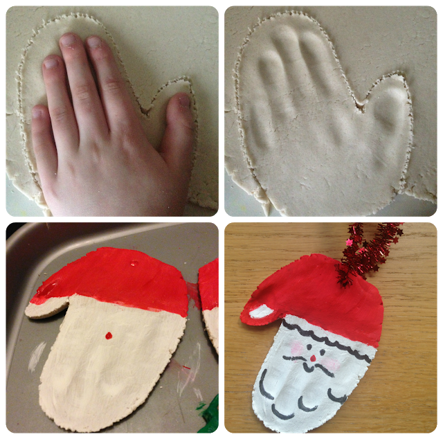 Salt dough Christmas Santa decorations made out of handprints