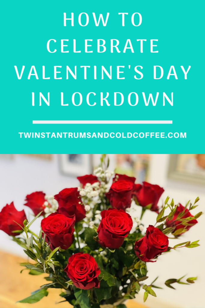 PIN image of a bouquet of red roses for how to celebrate Valentine's Day in lockdown