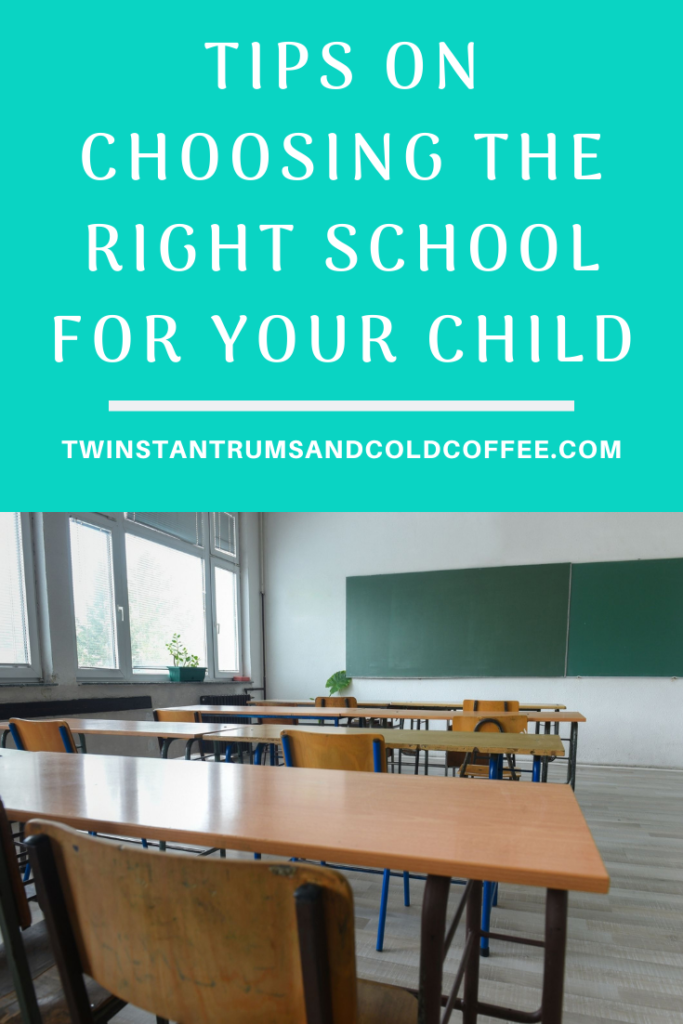 PIN image of a classroom with desks and blackboard for tips on how to choose the right school