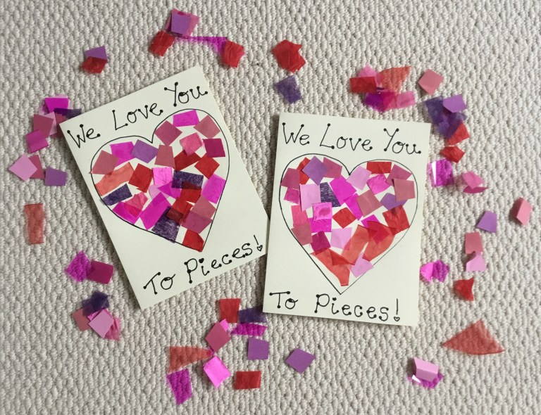 Home made Valentine's cards out of card and tissue paper