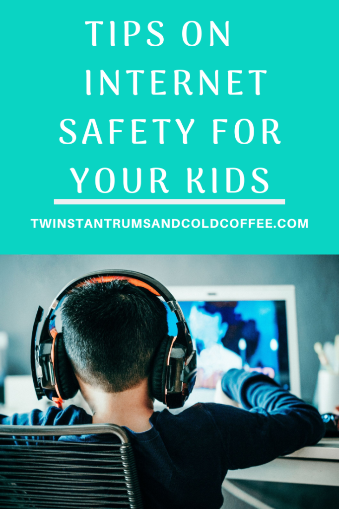 PIN image of a boy wearing headphones playing a game online about internet safety