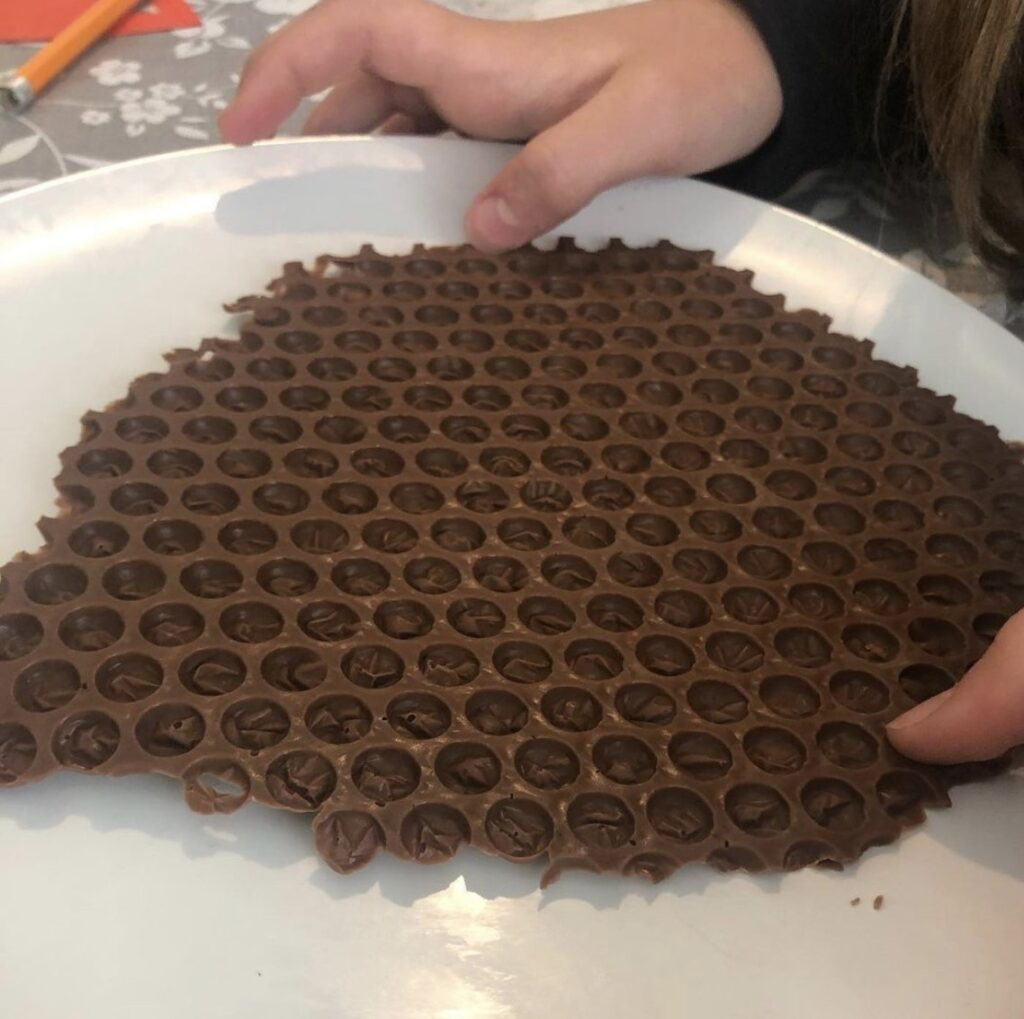Chocolate made out of bubble wrap