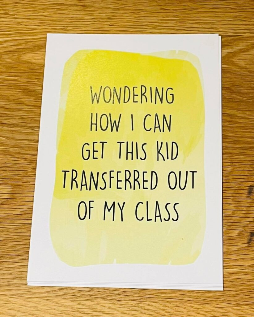 A homeschooling milestone card about getting the child transferred to another class